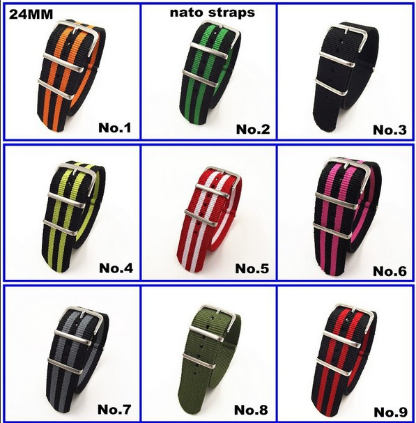 Hot sale ! 1PCS High quality 24MM Nylon Watch band NATO straps zulu straps waterproof watch strap - 10 colors in stock -31633
