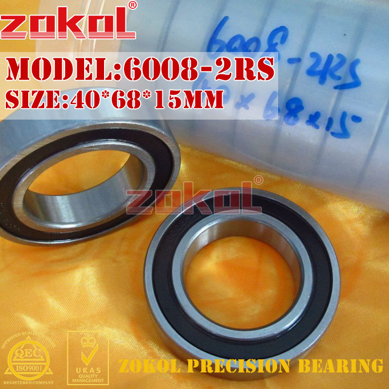 ZOKOL 6008RS Bearing 6008 2RS RS 6008-2RS 180108 Deep Groove Ball Bearing 40*68*15mm
