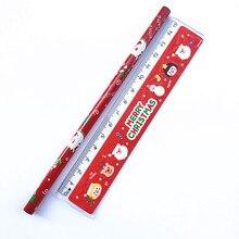 1 комплект, креативные канцелярские принадлежности с рождественской тематикой, набор карандашей, ластик, линейка, набор карандашей, Рождест...
