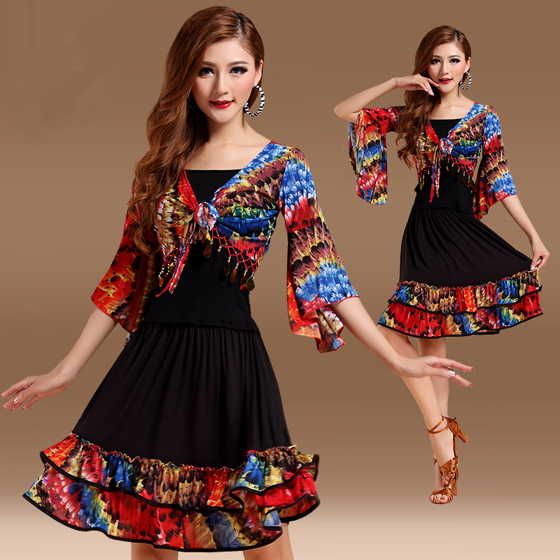 Show details for Free Shipping New Big Size Square Latin Dance Clothes Set For Female\/Women\/Girl\/Lady ,Costume Performance Wear Training Dress