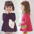 Детские Футболки медведь девушки сгущаться корейских детей tee теплый тепловой Футболка Корейской версии новой зима качество