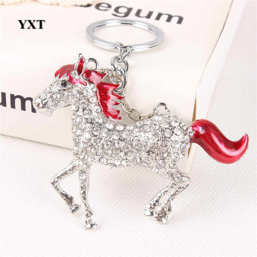 Lovely Red Horse Run Gallop Crystal Charm Purse Handbag Car Key Keyring Keychain Party Creative Friend Gift Accessories