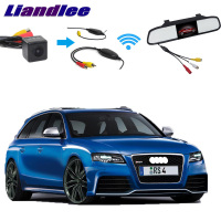 Liandlee For Audi A4 RS4 B8 8K 2012~2015 3 in1 Special Rear View Reversing Camera + Wireless Receiver + Mirror Monitor Easy DIY