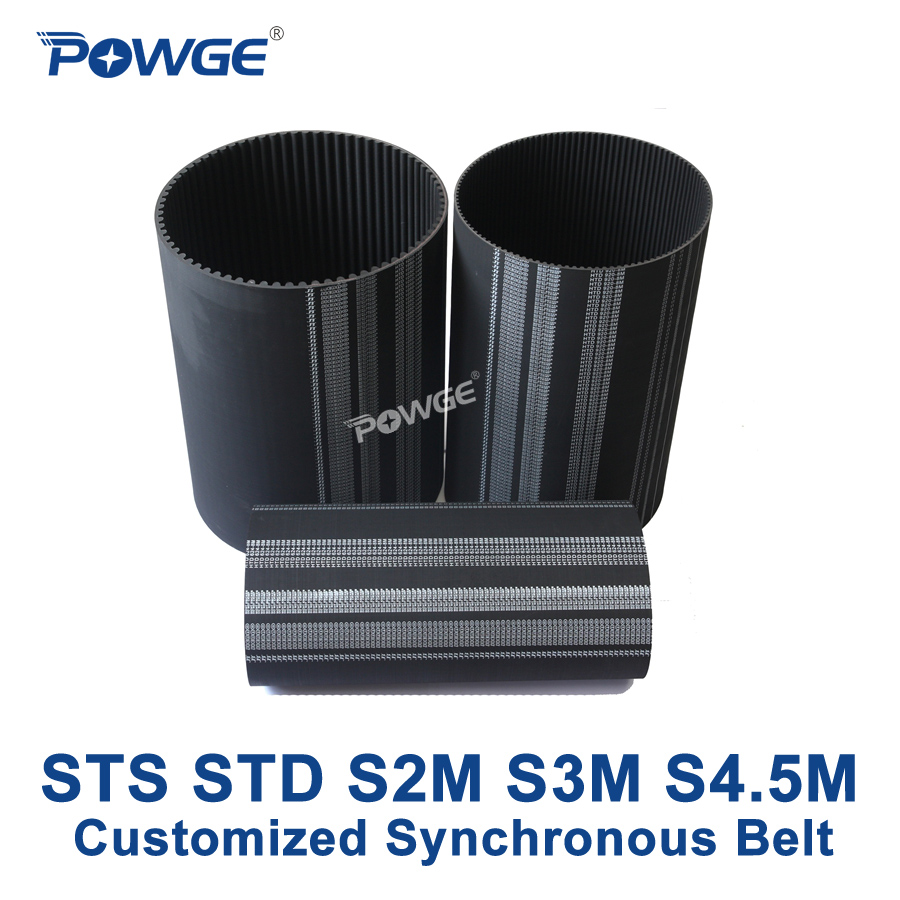 POWGE S-Toothed STS STD S2M S3M S5M Synchronous Belt Pitch 2mm 3mm 5mm Customized all kinds of S2M S3M S5M Timing Belt pulley