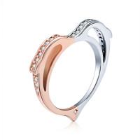 925 Sterling Silver Dolphin Love Rings for Women Gold Color Heart Shape Finger Ring Wedding Engagement Jewelry SCR418