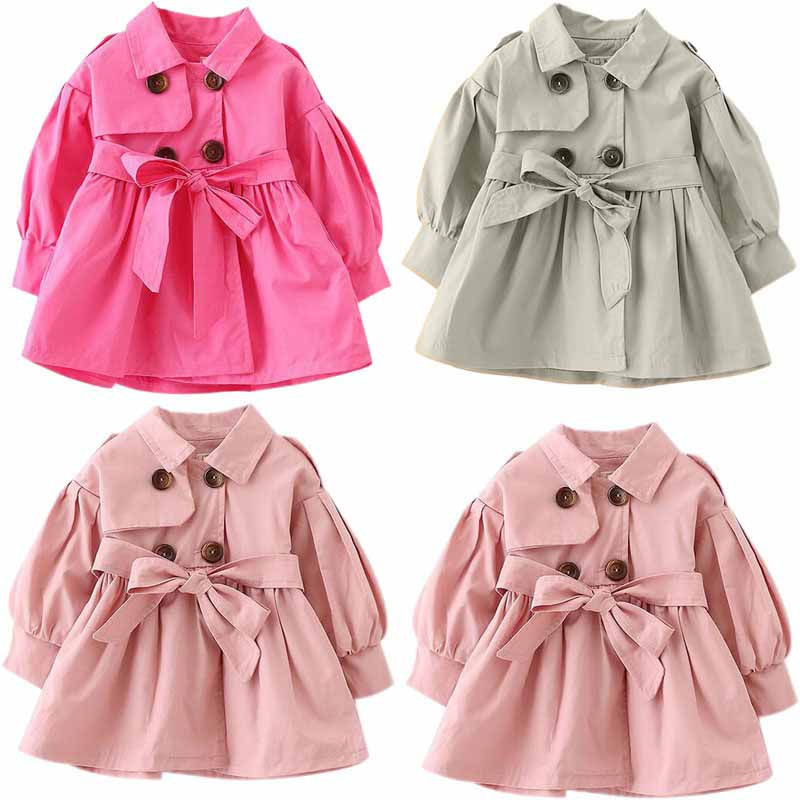 Autumn Long Sleeve Baby Girl Coat Fashion Bow Cotton Baby Ou