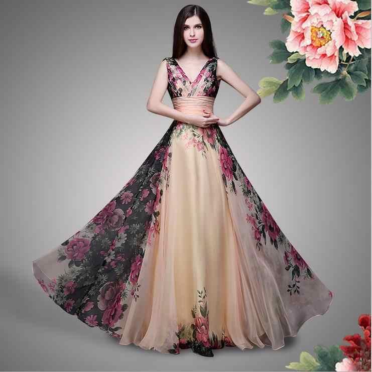 2e3462ce7 Detail Feedback Questions about Londinas Ark Store Bohemian women summer  dress Elegant Floral pattern women high quality long summer Bohemian  chiffon dress ...