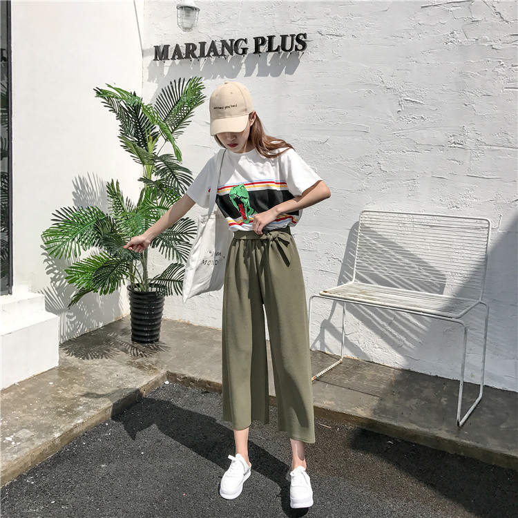 19 Women Casual Loose Wide Leg Pant Womens Elegant Fashion Preppy Style Trousers Female Pure Color Females New Palazzo Pants 18
