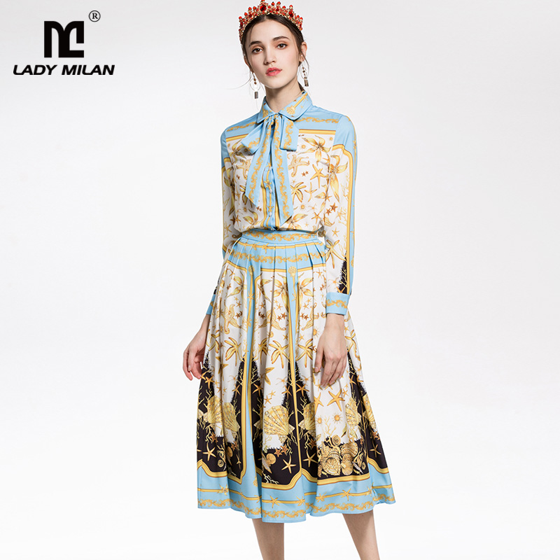 New Arrival 2018 Womens Sash Bow Collar Long Sleeves Stars Printed Shirt with Ruched Skirts Fashion Designer Dresses Sets