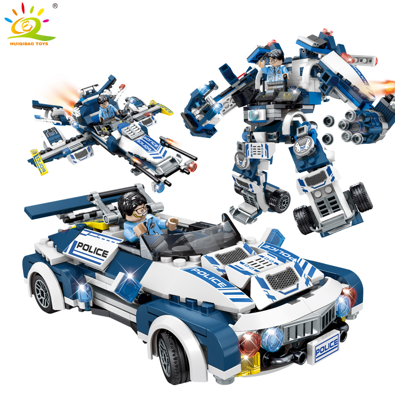 Super Police robot car aircraft Figures Weapon Building Blocks Compatible legoed City Enlighten Bricks children Toys for boy 519pcs city police station building blocks action figures set transform robot compatible with 60047 for kid gift