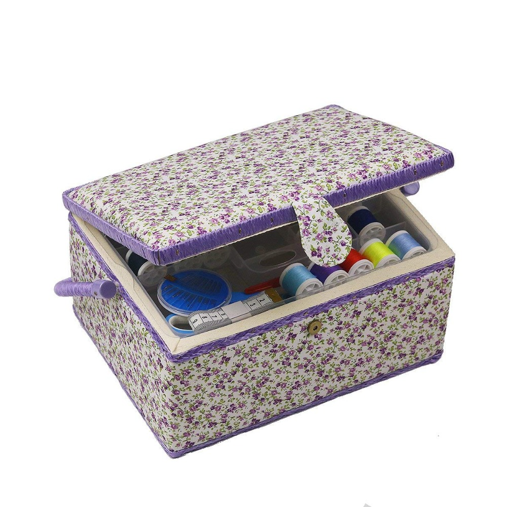 Large Sewing Basket Sewing Box Organizer With Sewing Kit Accessories DIY Cotton Fabric Storage Basket Box Christmas Gifts