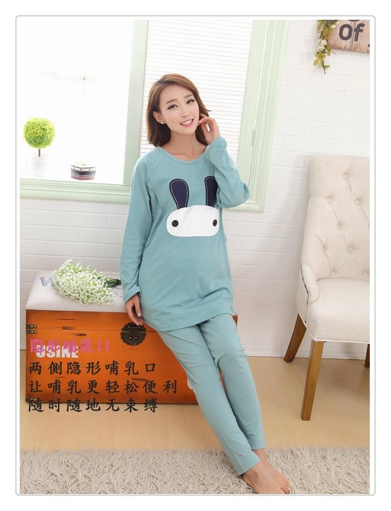 Cartoon rabbit Maternity Nurseing Pajamas (10)