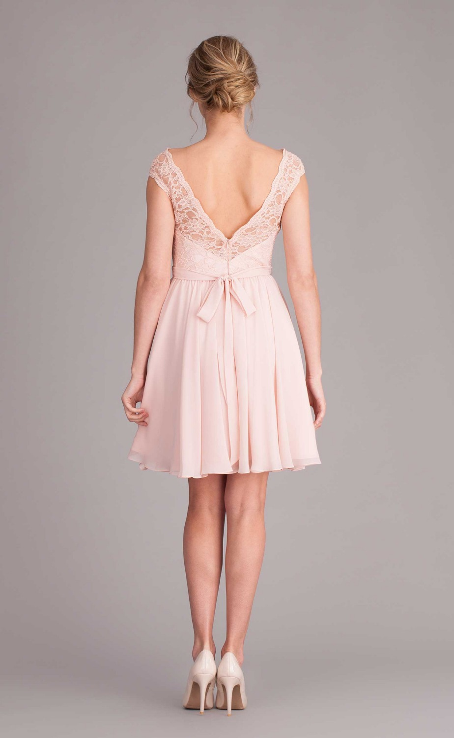 2dcf9fd85023a Pink V back cap sleeve short lace bridesmaid dress with sashes Knee ...