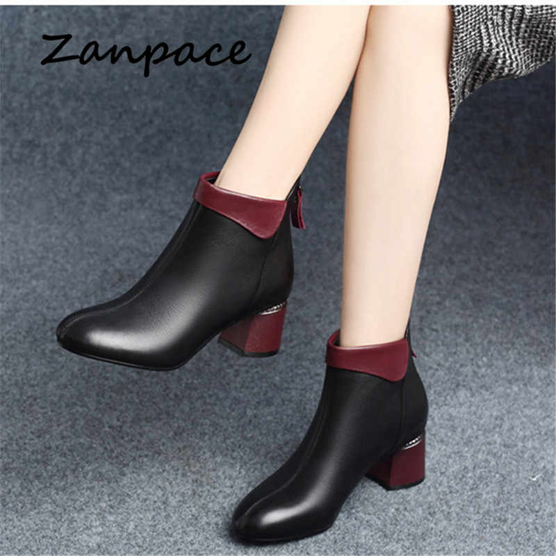 Zanpace New Women Boots 2019 Autumn High Heels Women Ankle Shoes Size 35-42 Spring Black Boots Fashion Office Leather Boots