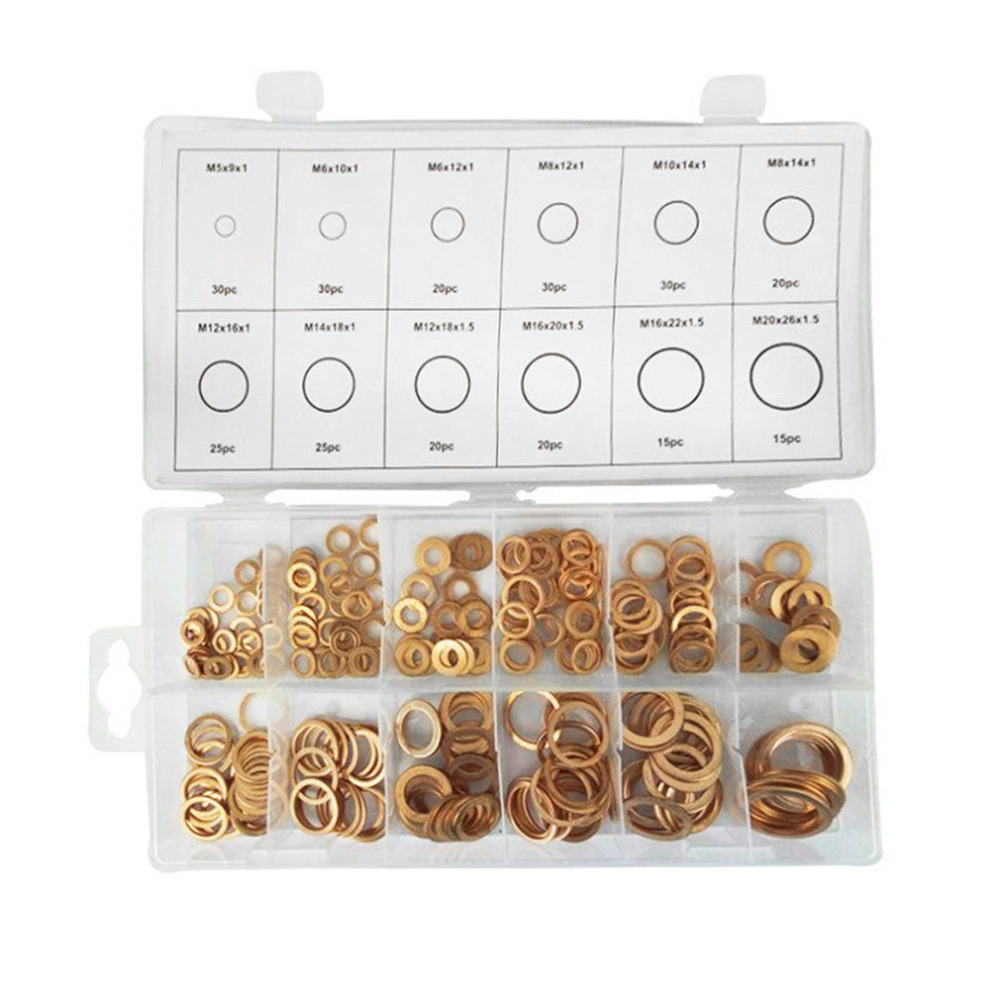 280pcs Copper Washers Set 12 Sizes Solid Assorted Copper Gasket Washers Sump Plug Sealing Ring Set With Case Assortment Kit280pcs Copper Washers Set 12 Sizes Solid Assorted Copper Gasket Washers Sump Plug Sealing Ring Set With Case Assortment Kit