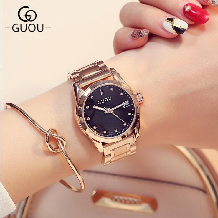GUOU reloj de moda moderno diamante elegante reloj de acero inoxidable Auto fecha reloj de señoras reloj relojes mujer relogio feminino