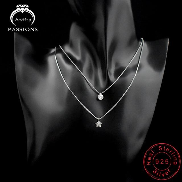 Nuovo Arrivo 925 Sterling Silver Doppi Strati Collana Con Star Pendente Della Clavicola Collana A Catena Per Le Donne & Girl Jewelry