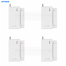DIYSECUR 4pcs Wireless 433Mhz Door Magnetic Sensor for Our Related Home Alarm Home Security System Gap
