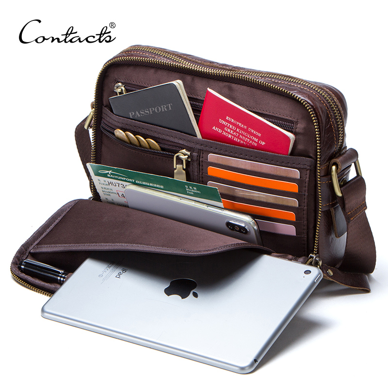 CONTACTS genuine leather men messenger bag for ipad male shoulder bags for credit card luxury brand mans bags with coin pocketCONTACTS genuine leather men messenger bag for ipad male shoulder bags for credit card luxury brand mans bags with coin pocket