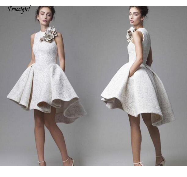 Short A-line Lace Cocktail Dresses Elegant O-neck Plus size Zipper White High Low Party Gown Homecoming Dres