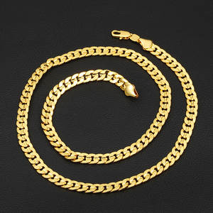 Liffly Men's Women's Chain 24K Gold Necklace Gift Jewelry