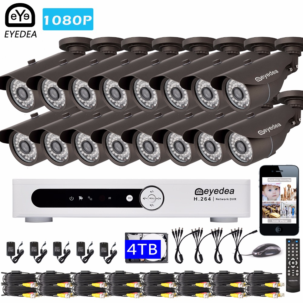 Eyedea 16 CH Remote Access DVR 1080P 5500TVL Bullet Outdoor LED Night Vision CCTV Security Camera Video Surveillance System 4TB keyshare dual bulb night vision led light kit for remote control drones