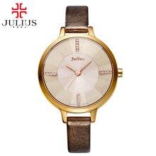2016 Women good Austrian rhinestone watches Female leather strap watch Fashion casual Japan Quartz wristwatch Julius 800 clock