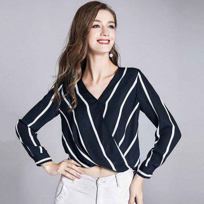 Mûrier soie chemise femmes noir et blanc rayures blouse femmes d'été porter col en v lâche femmes mode chemise irrégulière 181021