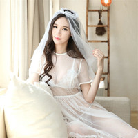 Porn Babydoll Bride Wedding Dress Erotic Lingerie For Women Sexy Lingerie Hot Erotic Underwear Sleepwear Role