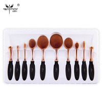 10 PCS Per Set Tooth Brush Shape Oval Makeup Brush Set MULTIPURPOSE Makeup Brushes Professional Foundation