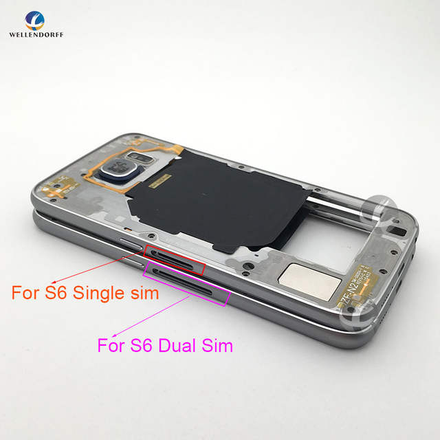 US $12 38 |For Samsung Galaxy S6 G920 G920F Middle Frame Bezel Housing  Chassis with Back Camera Glass Lens Cover Single Dual Sim Original-in  Mobile