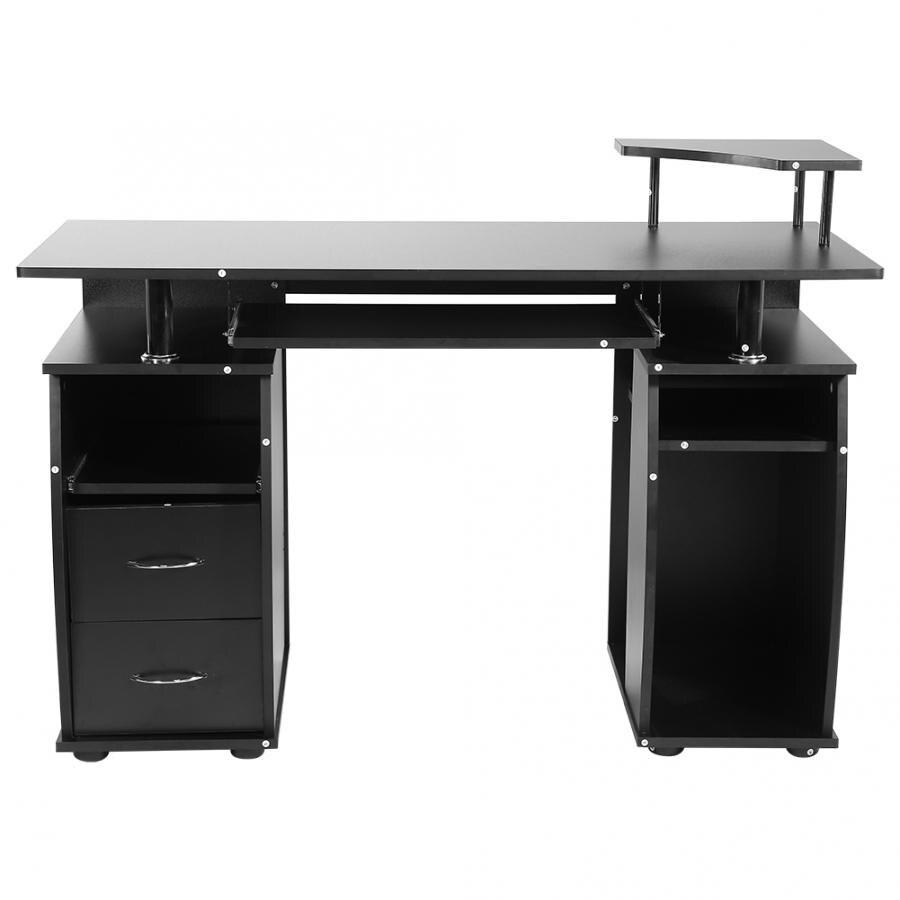 Ordinateur bureau Table meubles PC Table de travail avec tiroir 120*55*85 cm noir