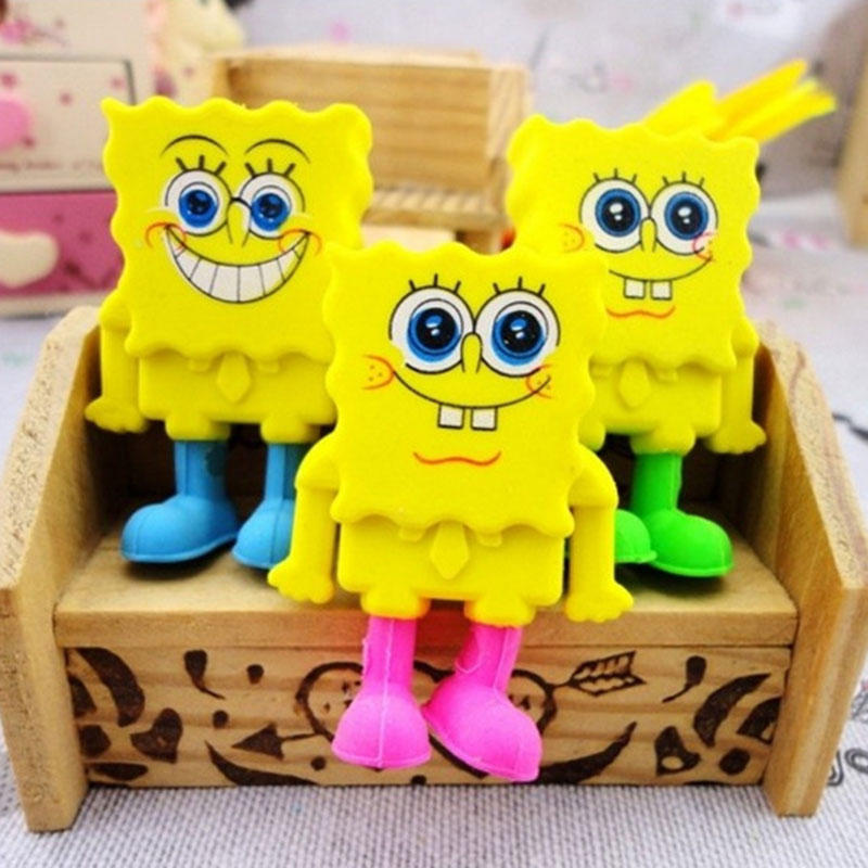 2Pcs Kawaii SpongeBob Eraser Lovely Cartoon Eraser Korean Stationery Papelaria For Kids Gift Escolar Utiles Escolares Papelaria