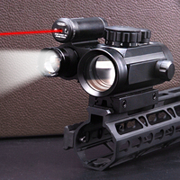 Hunting RifleScope Sight Red Dot for 11mm or 20mm rail with tactical red dot laser sights sight + 800 LUM Flashlight Torch Lamp
