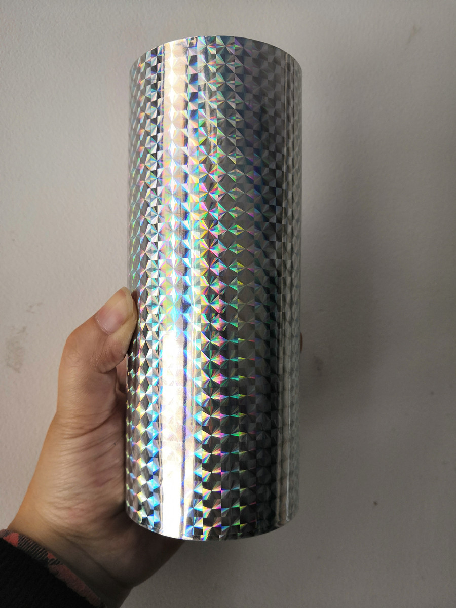 holographic foil silver color checker B02 design hot stamping foil press on paper or plastic meterials heat transfer film hot stamping foil holographic foil gold oblique light beam pattern hot press on paper or plastic meterials heat transfer film