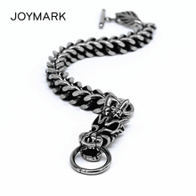 Dragon Head Men's Bracelet Male 316L Stainless Steel Link Chain Bracelets Fashion Punk Jewelry BXGB01 equte bssm5c3 316l stainless steel golden link bracelet 9