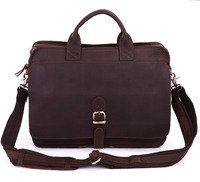 6020Q 2 100% Real Crazy Horse Leather Briefcases Men's Handbag Laptop bag Leather 15.6 inch Hot Selling