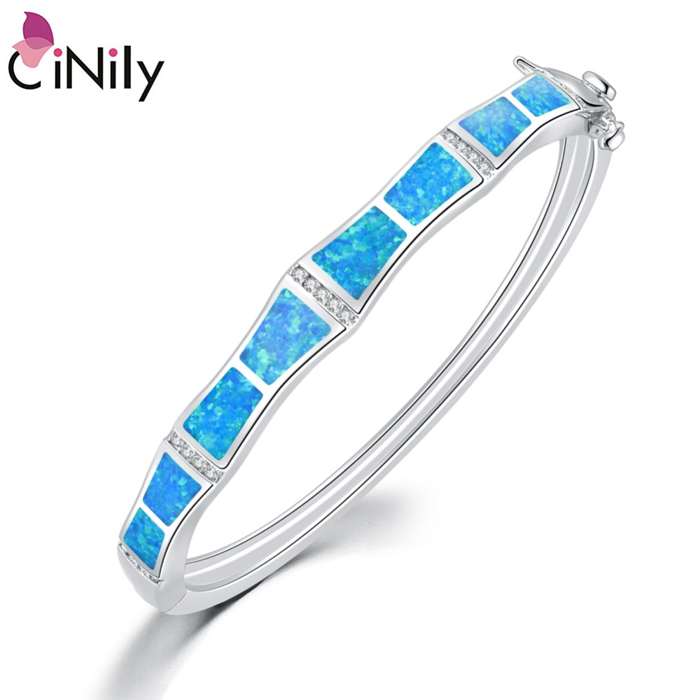 CiNily Plus Size White & Blue Fire Opal Stone CZ Crystal Filled Bangles Silver Plated Bohemia BOHO Vintage Luxury Jewelry Woman