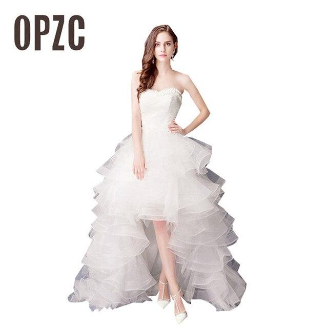 9e0d5fb4d 2018 Top Venda Hight Baixo noiva real do vestido de casamento Barato  princesa Rendas Frente Curta