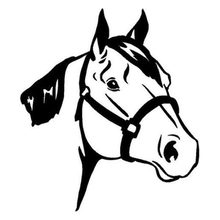 12.4*14CM Quarter Horse Head Car Styling Classic Partten Stickers Vinyl Car Body Decals Black/Silver C9-0778(China)