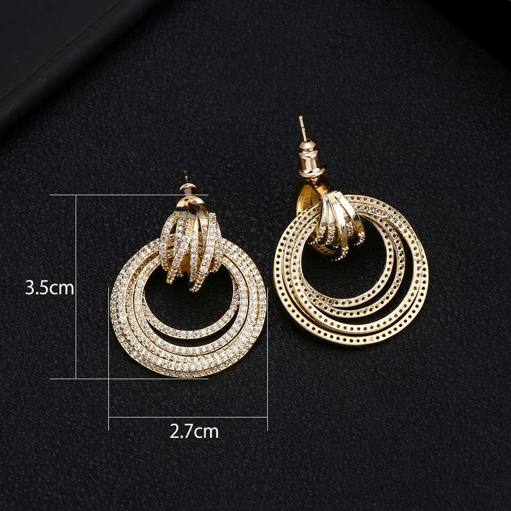 JANKELLY Luxury Circle Twist Statement Dangle Earrings Trendy Indian Bridal Cubic Zircon Crystal CZ Earrings For Women Wedding