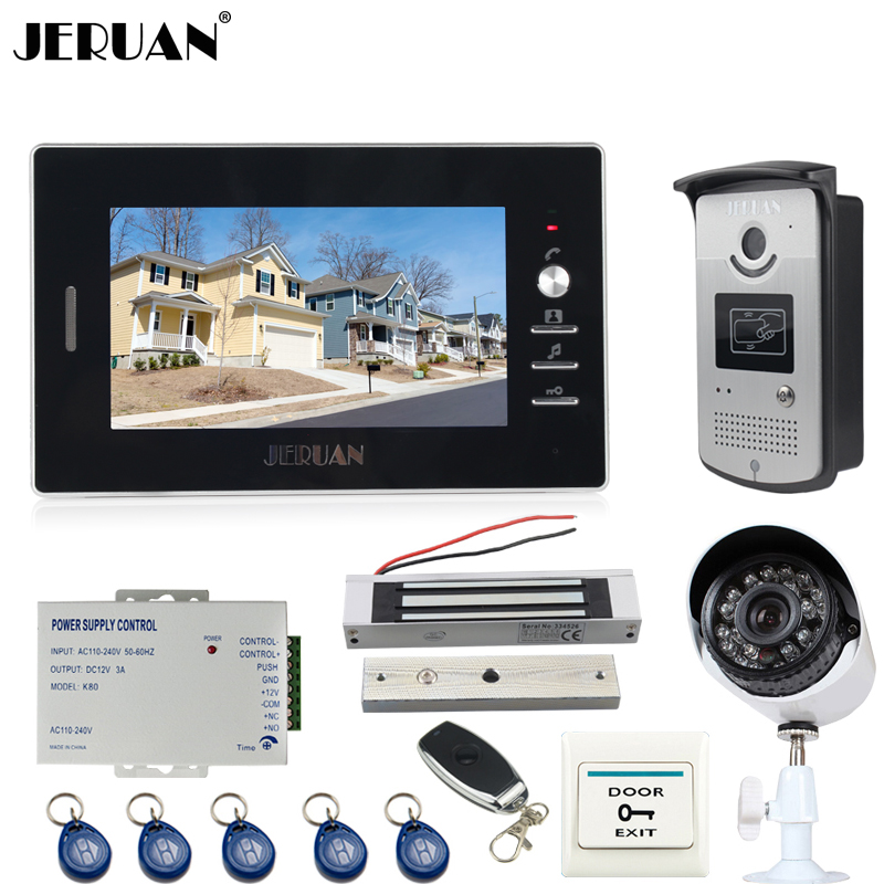 JERUAN 7 inch LCD Video door Phone Intercom System kit waterproof RFID Access Camera + 700TVL Analog Camera+180kg Magnetic lock 12 apartments placa de video door phone intercom rfid door access control system with 7 inch lcd display