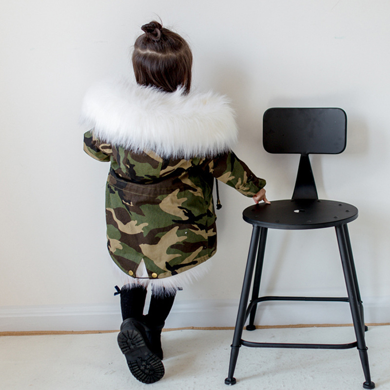 2-12T Girls Boys Fox Fur Jackets Thick Warm Liner Thicken Warm Baby Girl Winter Coat Hooded Parkas For Boy Children