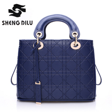 100% genuine leather Diamond Lattice free shipping women handbag shengdilu brand new 2016 shoulder Messenger bag  noble