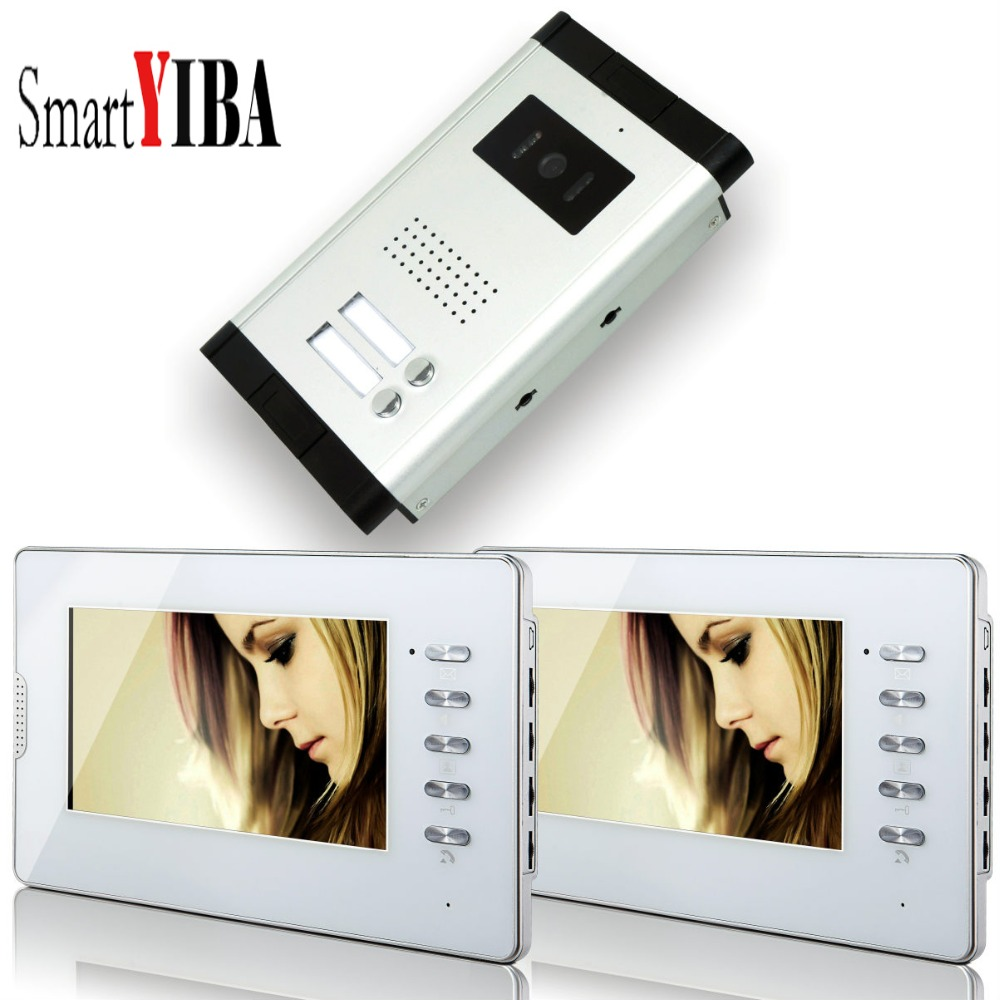 SmartYIBA 7inch LCD Monitor Wired Video Door Phone Intercom System Wired Doorbell Kits 1 Night Vision Camera 2 Button 2 Screen