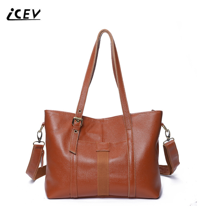ICEV New Fashion Women Leather Handbags Designer Handbags High Quality Genuine Leather Handbags Ladies Vintage Cowhide Totes Sac icev new brands simple classic female cow leather designer handbags high quality genuine leather handbags women leather handbags