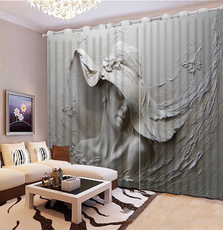 Relief beauty 3D Curtain Printed Three dimensional Relief Head 3D Bathroom Shower Curtain 3D Curtain Blackout custom  curtains Curtains     - title=