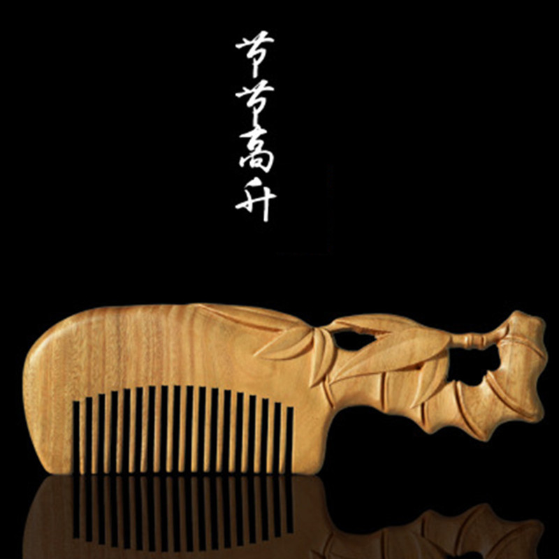 Professional Health Care Comb Anti-static Massage Green Sandalwood Comb Handmade Bamboo Hair Brush Wedding/ Birthday Gift professional health care comb anti static massage black sandalwood comb handmade beauty lotus seed hair brush
