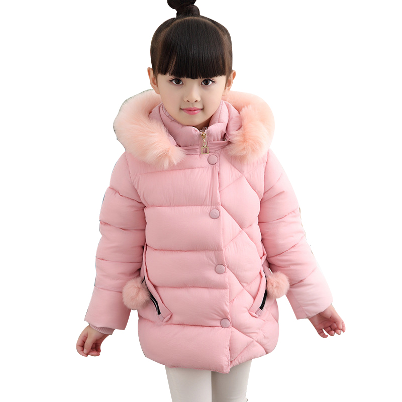 Rlyaeiz Children's Coat 2018 Brand New Winter Jacket For Kids Girls Fashion Warm Pure Color Kids Fur Collar Hooded Parka Outwear winter men jacket new brand high quality candy color warmth mens jackets and coats thick parka men outwear xxxl