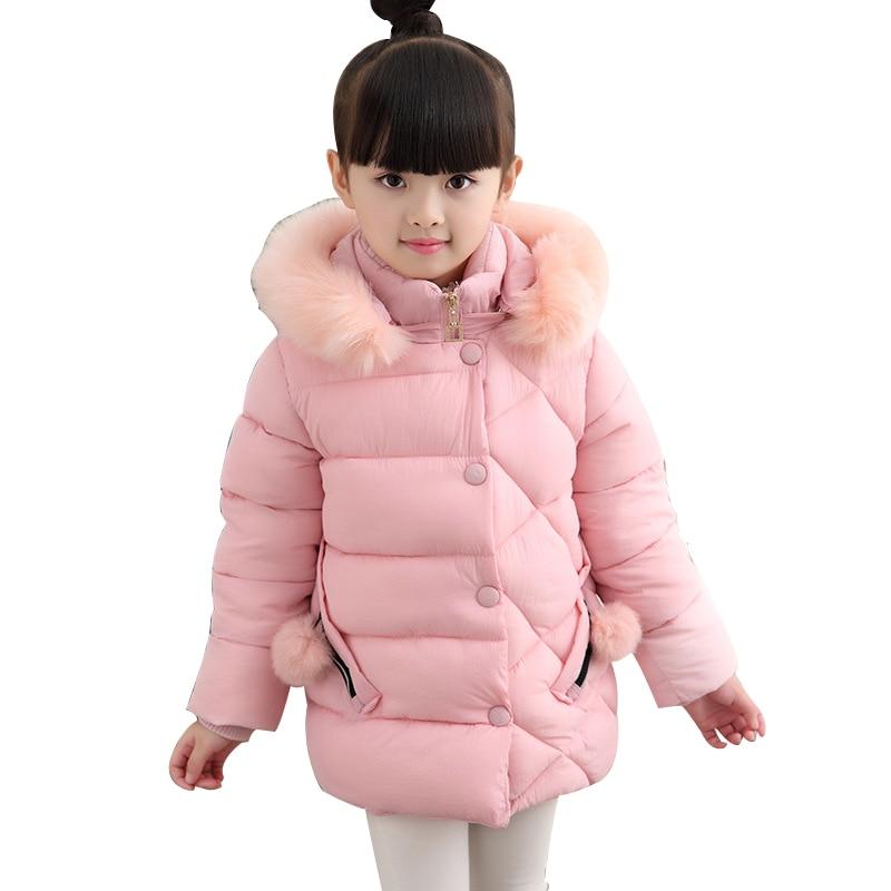 Rlyaeiz Children's Coat 2018 Brand New Winter Jacket For Kids Girls Fashion Warm Pure Color Kids Fur Collar Hooded Parka Outwear elegant stand collar pockets design pure color coat for men